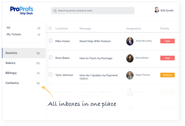 Manage customer email with help desk software