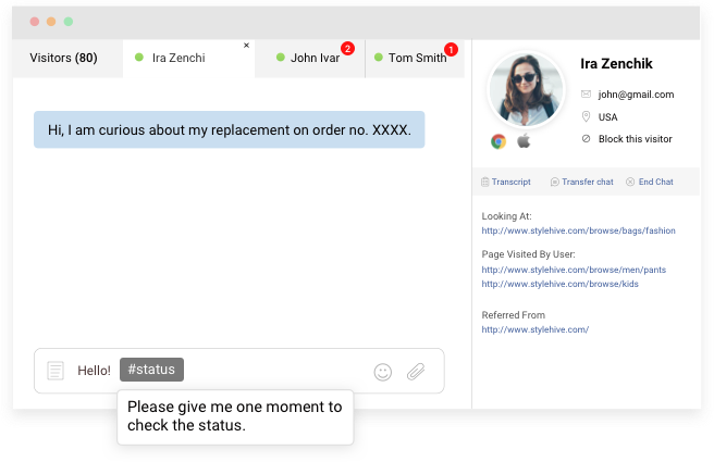 manage multiple customers using live chat