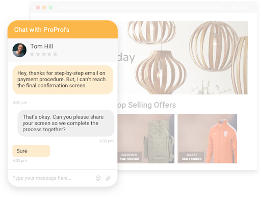 live chat screen sharing