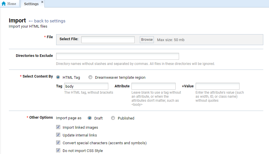 Import files right into your technical manual