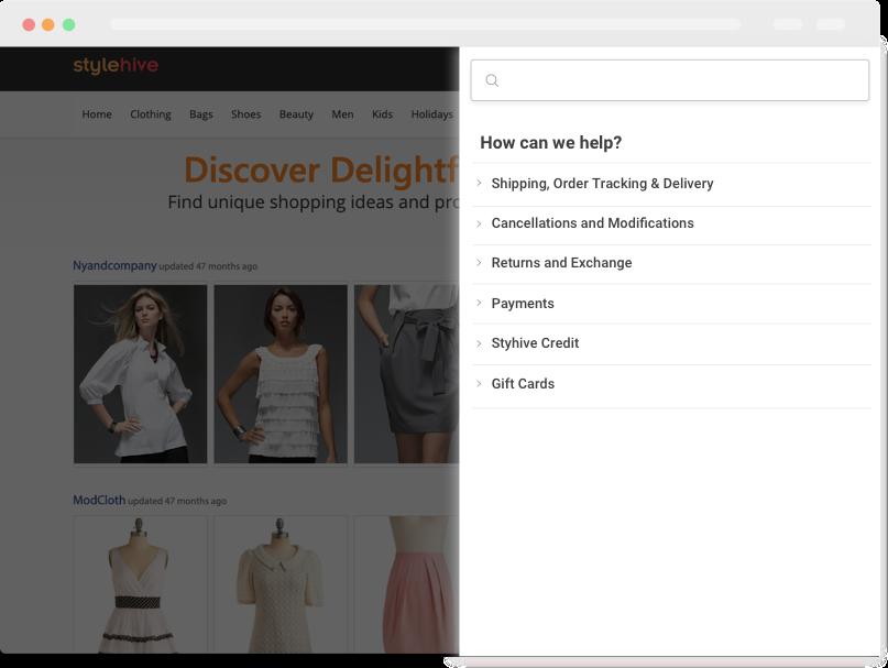 In app help widgets for self-help