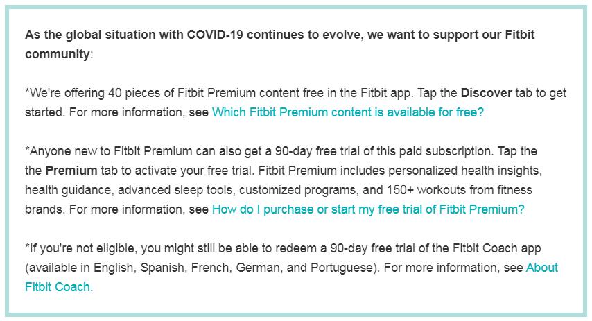 Fitbit Customer experience example during Corona Virus pandemic