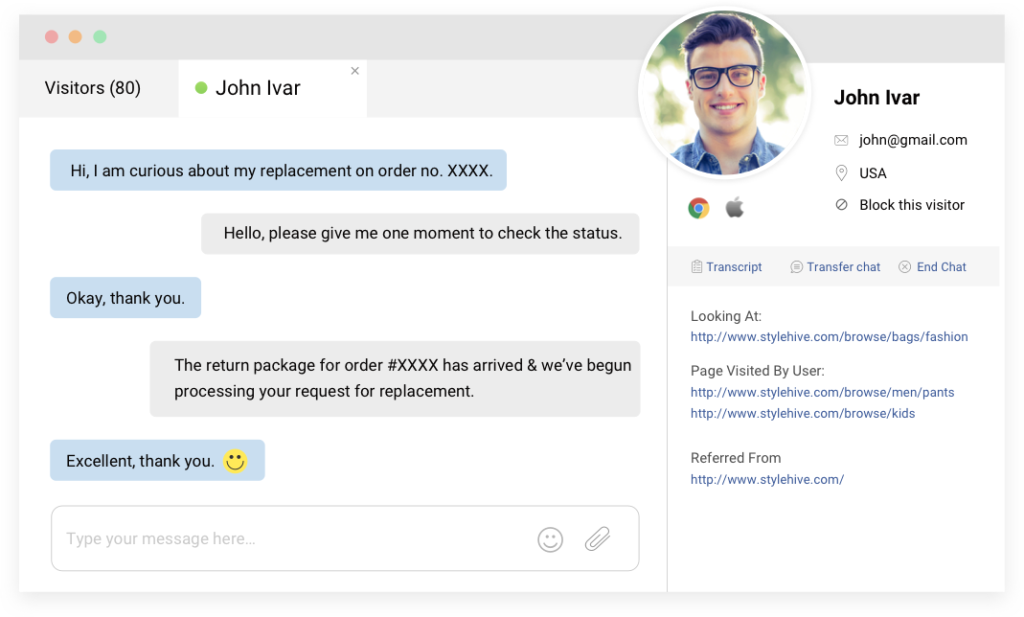 Live chat software window