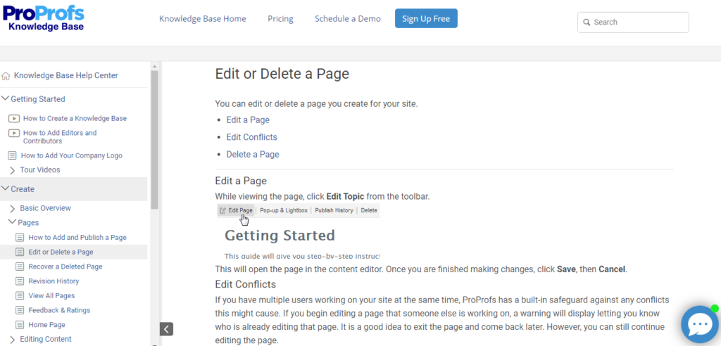 proprofs knowledge base examples add or delete page