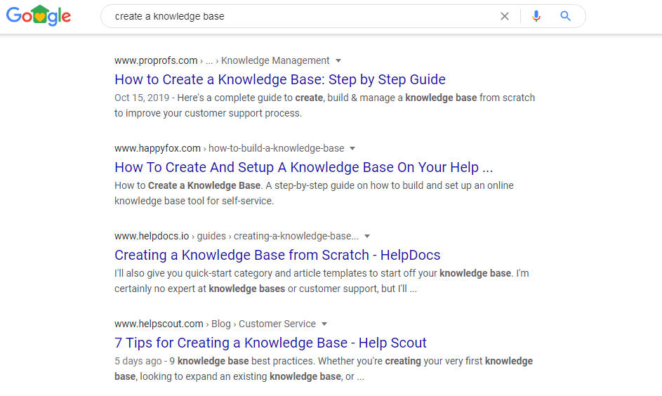 google SERPs results on knowledge base software