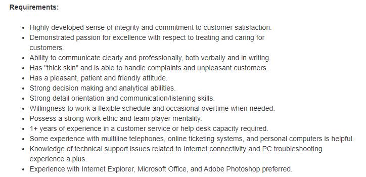 Customer Service Job Description: Requirements