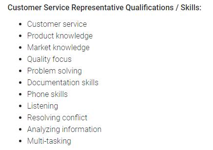 Customer Service Job Description: Skill Set