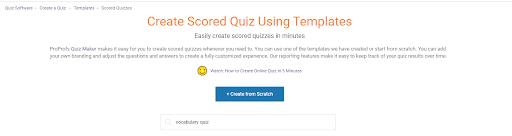 Create scored quiz using templates