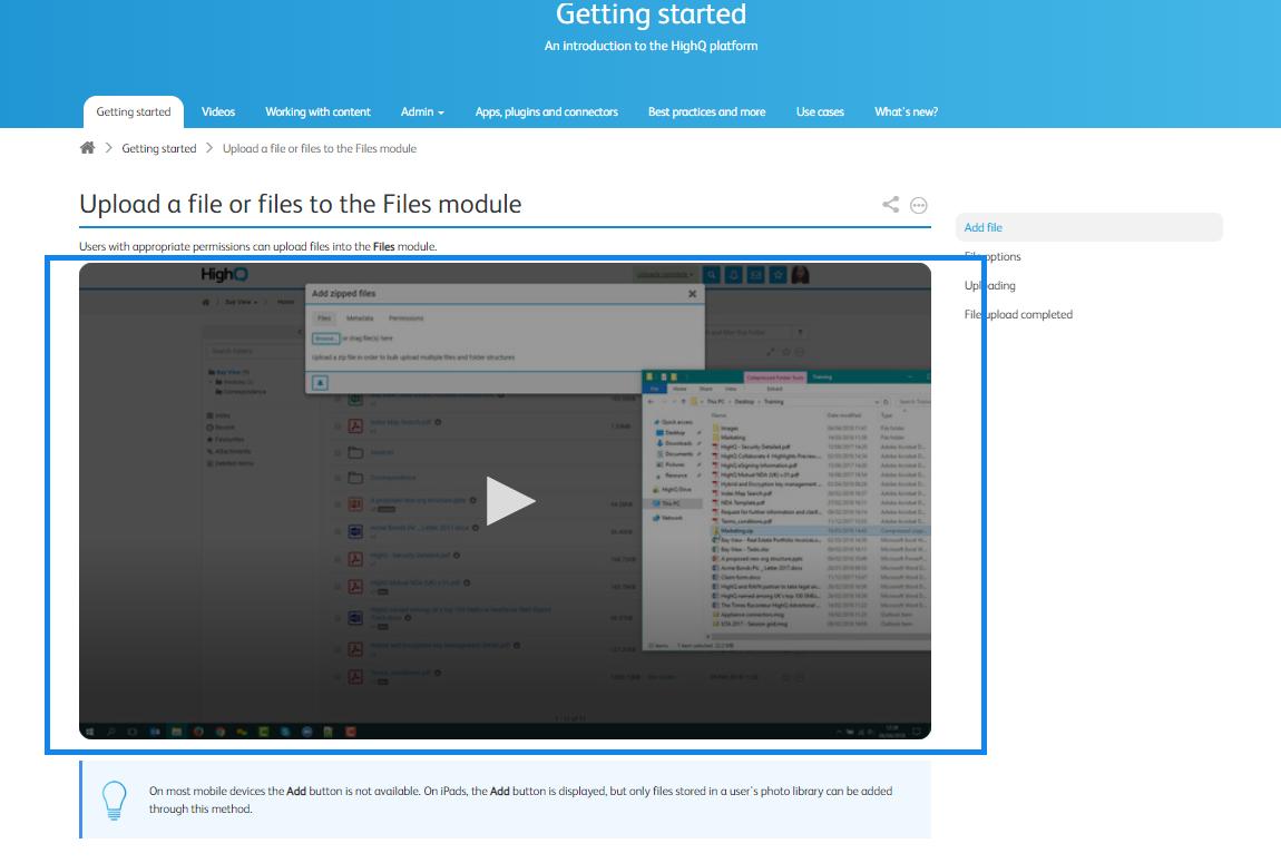 Video in training documentation
