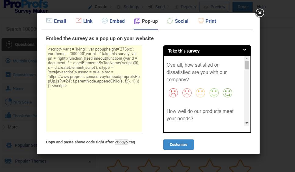 Embed Surveys as a Pop-Up on website