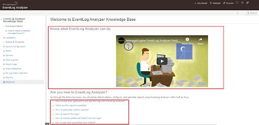 EventLog Analyzer's documentation example