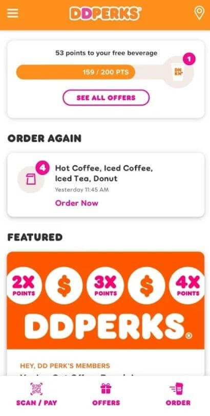 Dunkin Donuts DD Perks loyalty program