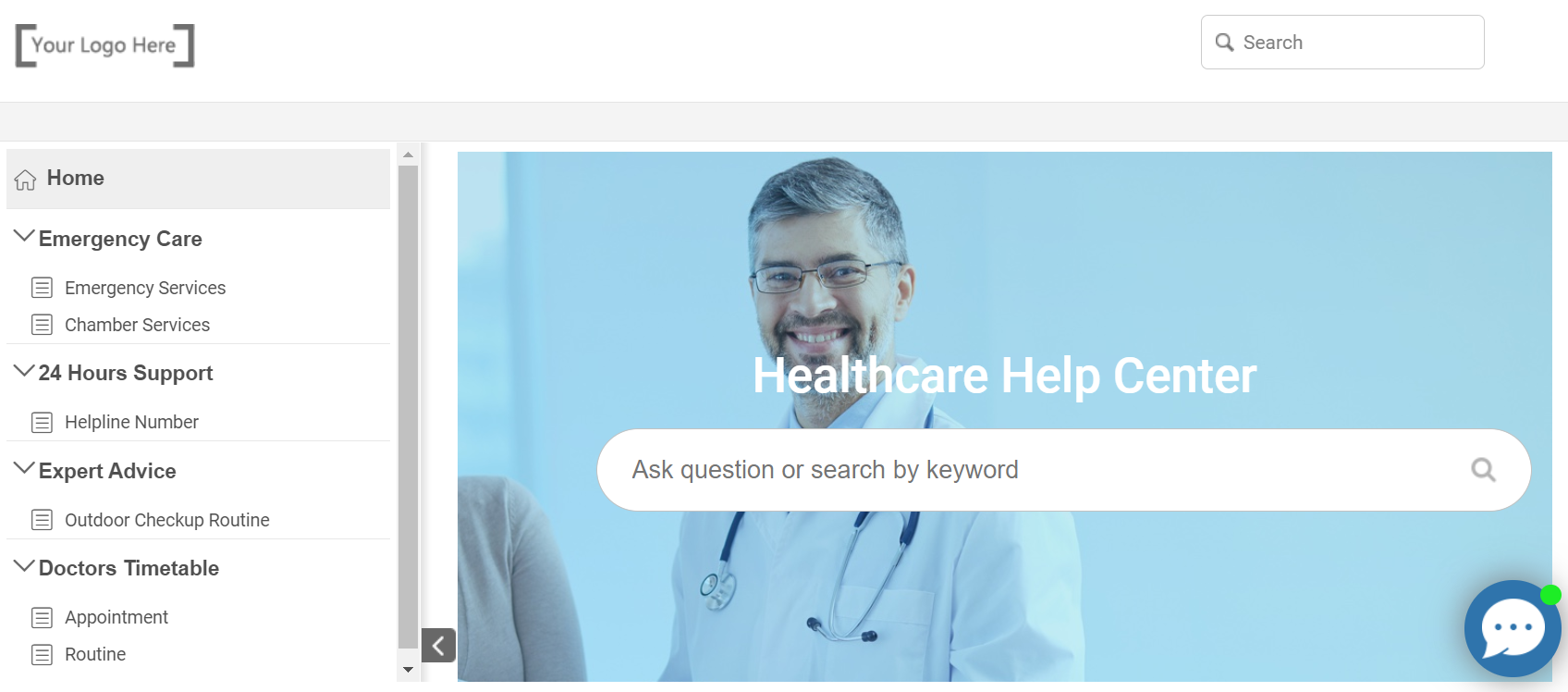 ProProfs healthcare help center free templates