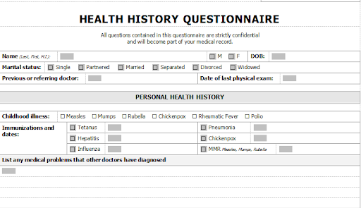 health History of Questionnaire