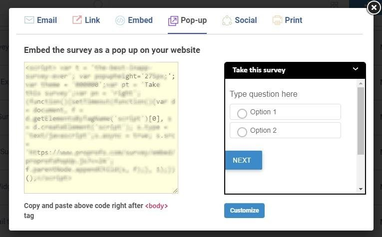 Include your survey as a pop-up