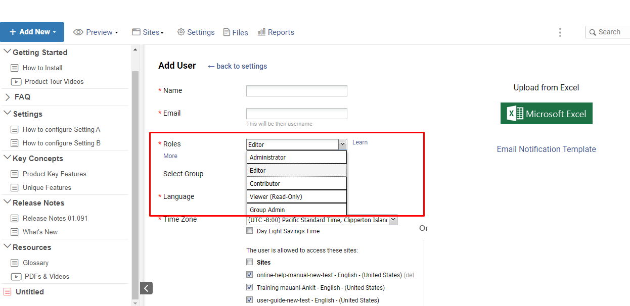 manage roles in online manuals