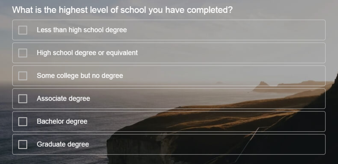 Sample Question for Education Survey