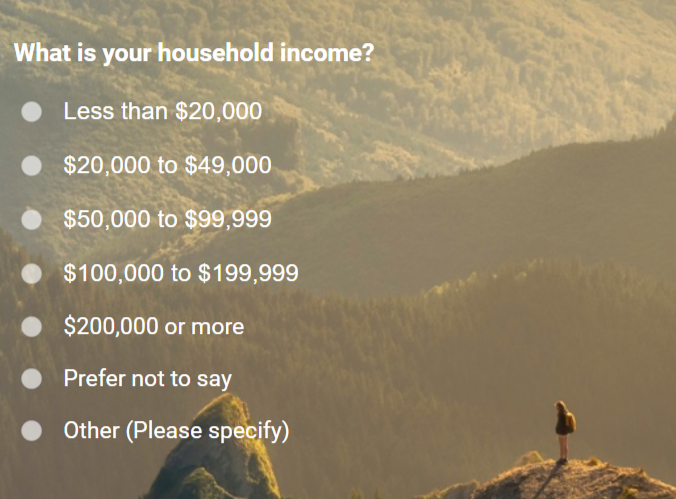 Sample Question for Household Income