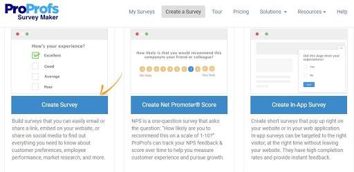 Select Create Survey Tab