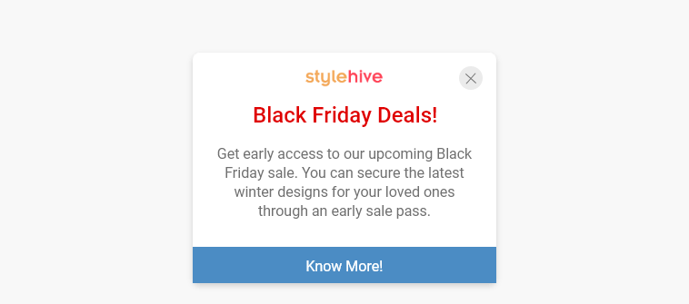 Announce latest discounts & flash sales during holiday season using live chat