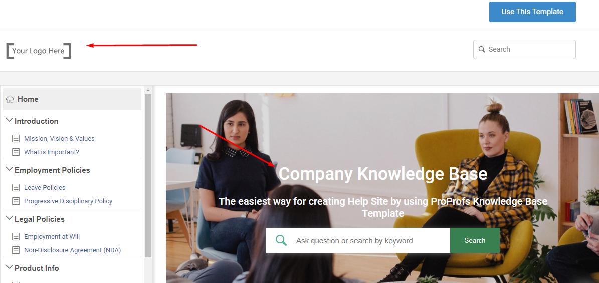 company knowledge base templates