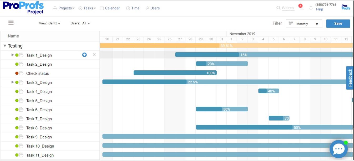 Gantt Charts to track task dependencies to monitor plan