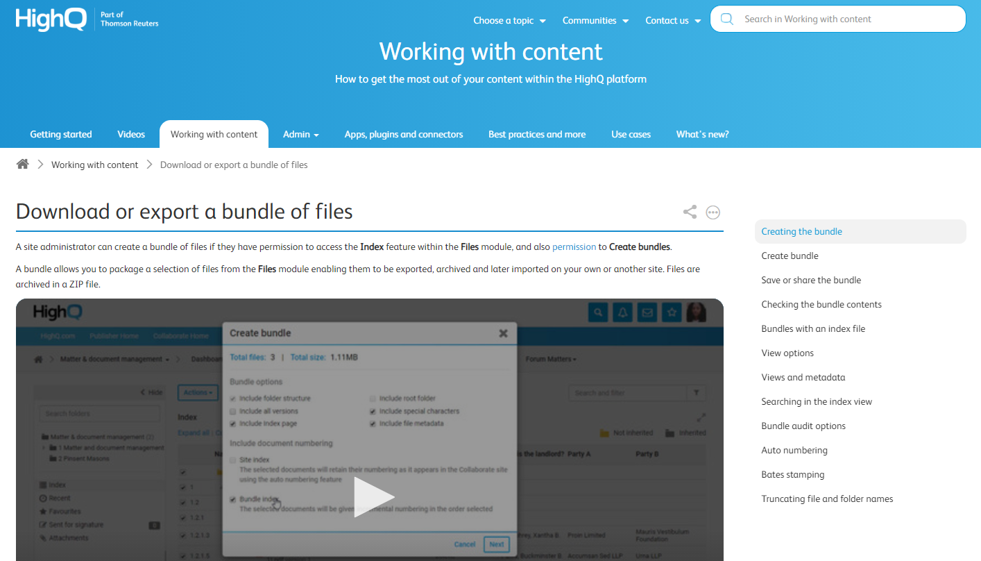 Knowledge base videos examples