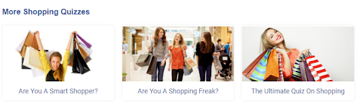 More shopping quizzes