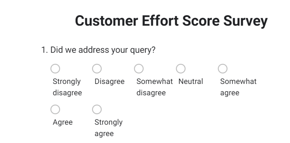 Customer Effort Score Survey Range Scale
