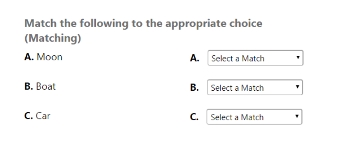 matching question