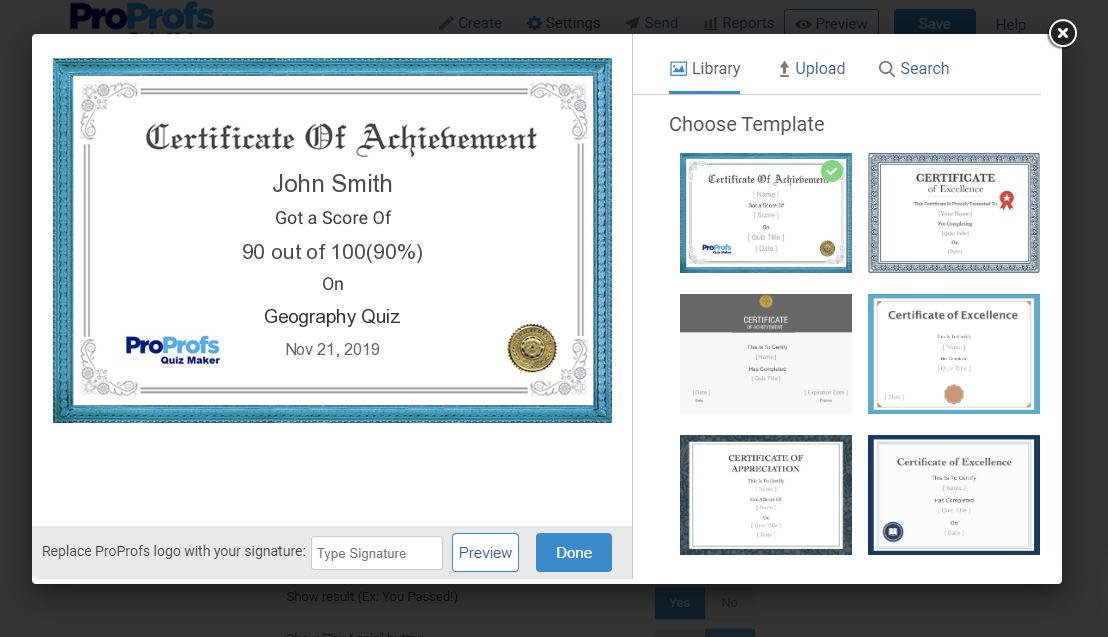 customize a quiz completion certificate