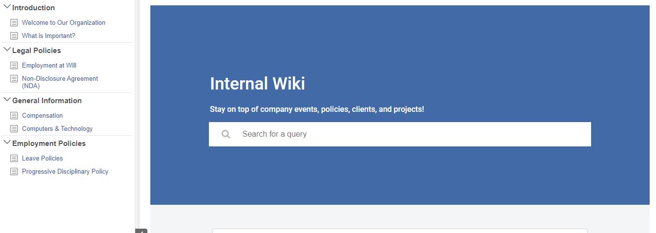 Internal wiki example