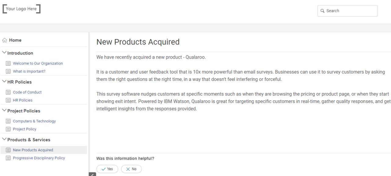 New product information under internal wiki