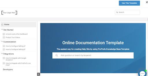 Online documentation templates