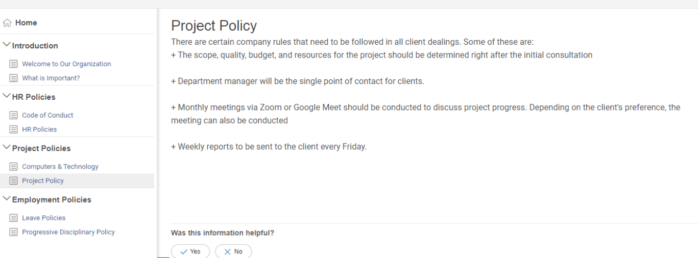 Project policy under internal wiki