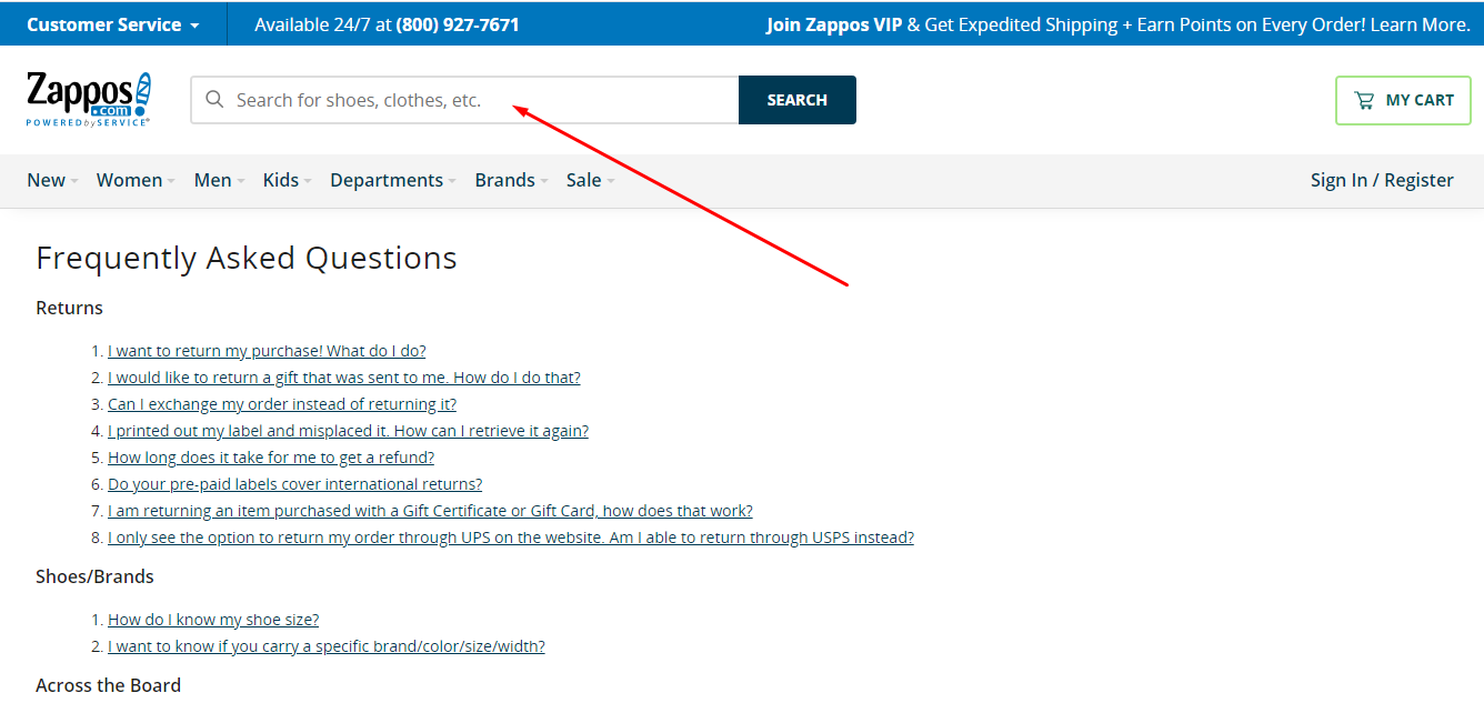 Zappos FAQ section navigation