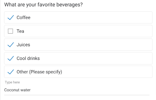 Checkbox type survey