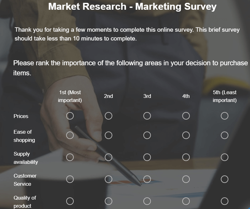 Market research survey example