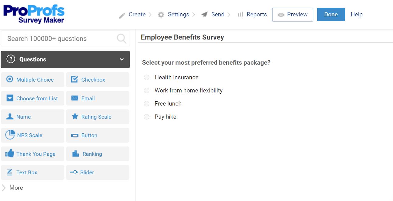 Employee Benefit Surveys ProProfs