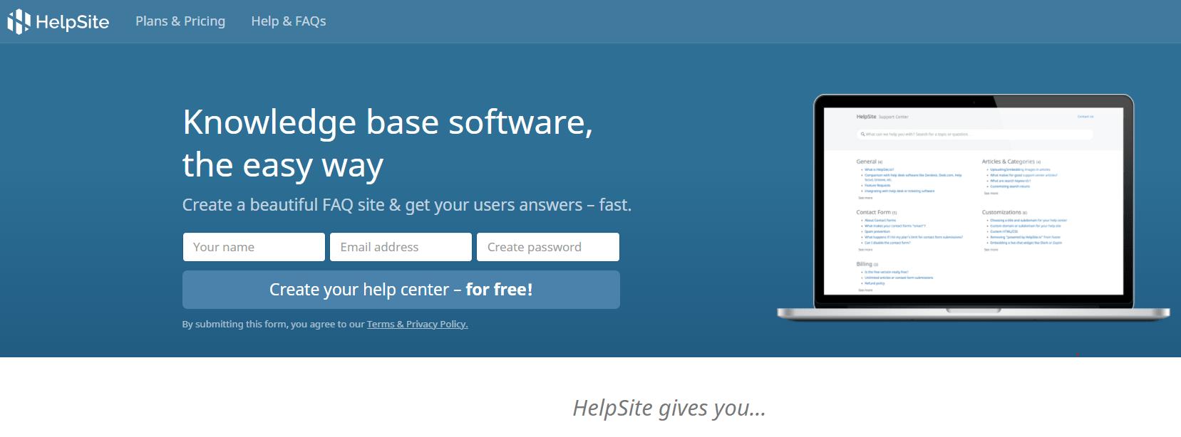 Helpsite Knowledge base