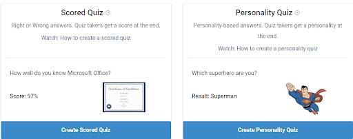 Select the Quiz Type
