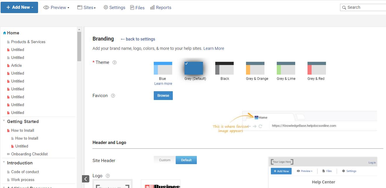 Branding in customer portal software