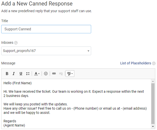 Canned response in ticketing system