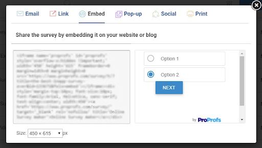 Embed survey on website