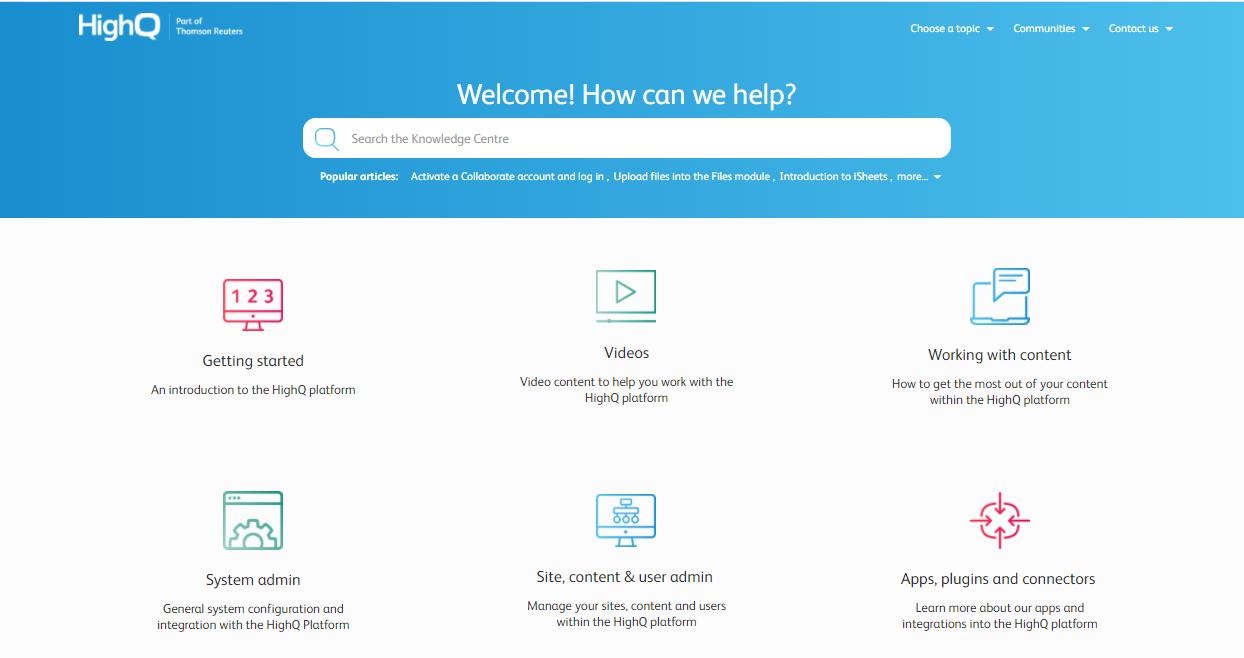 HighQ Customer Portal example